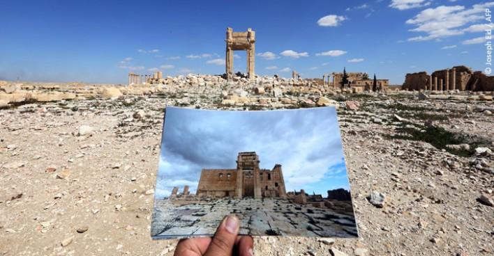 El templo de Baal, uno de los monumentos más emblemáticos del sitio cultural de Palmira (Siria), antes y después de ser destruido por el EIIL en agosto de 2015.